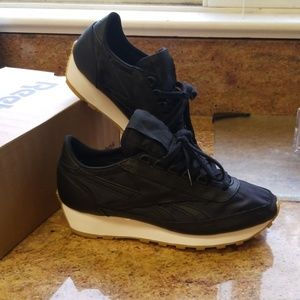 Reebok black nylon and leather sneakers